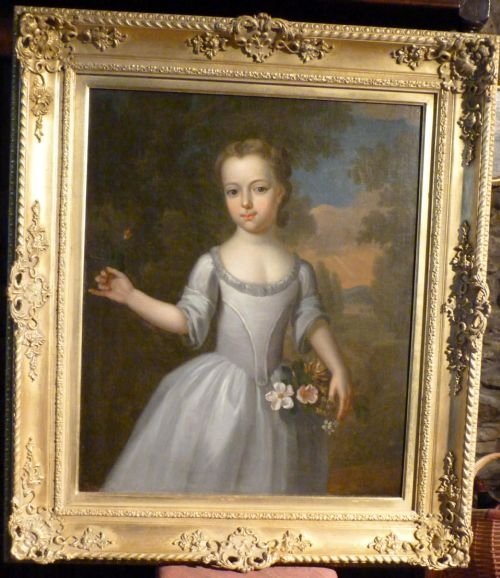 portrait of a young girl with flowers c1750 attributed to thomas bardwell