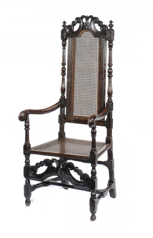 queen anne ebonised and caned armchair c171020