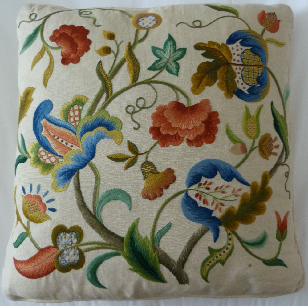 crewelwork cushion