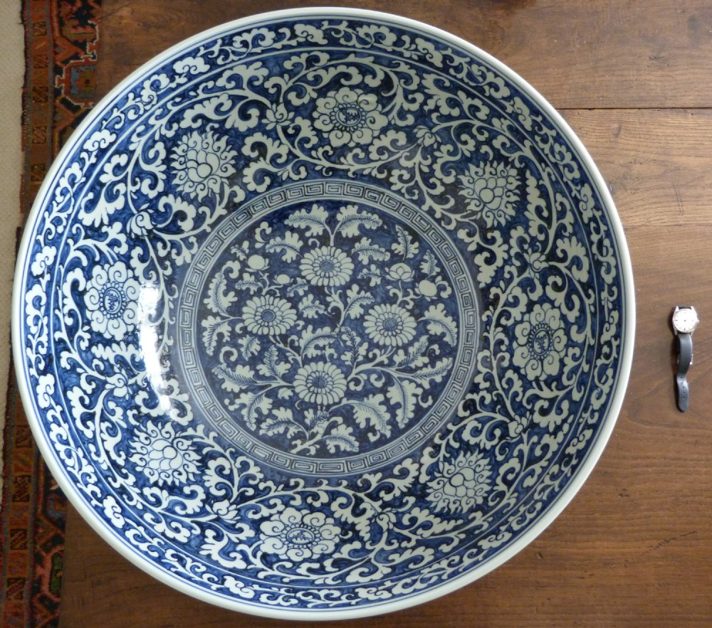 huge chinese blue and white bowl