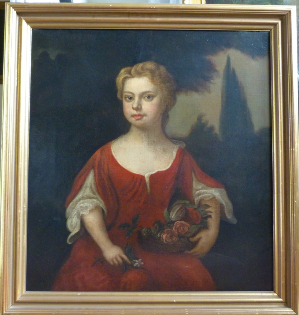 portrait of a girl in red c1710 follower of kneller