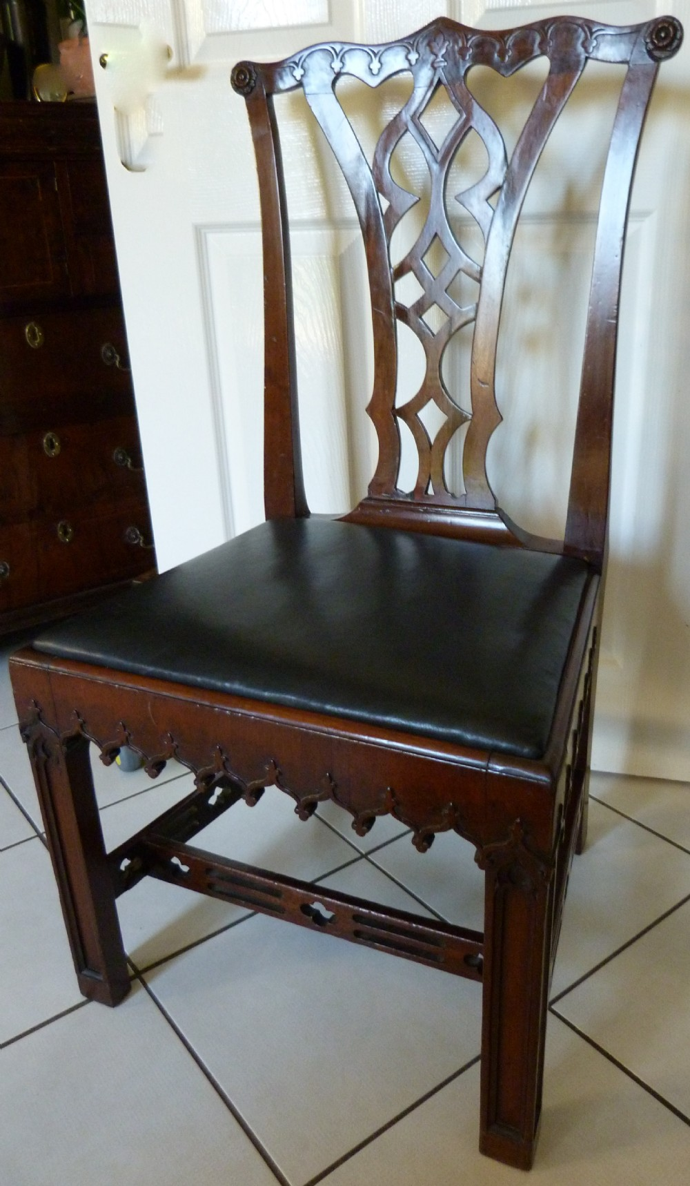 george iii chippendale period 'gothick' chair c1770