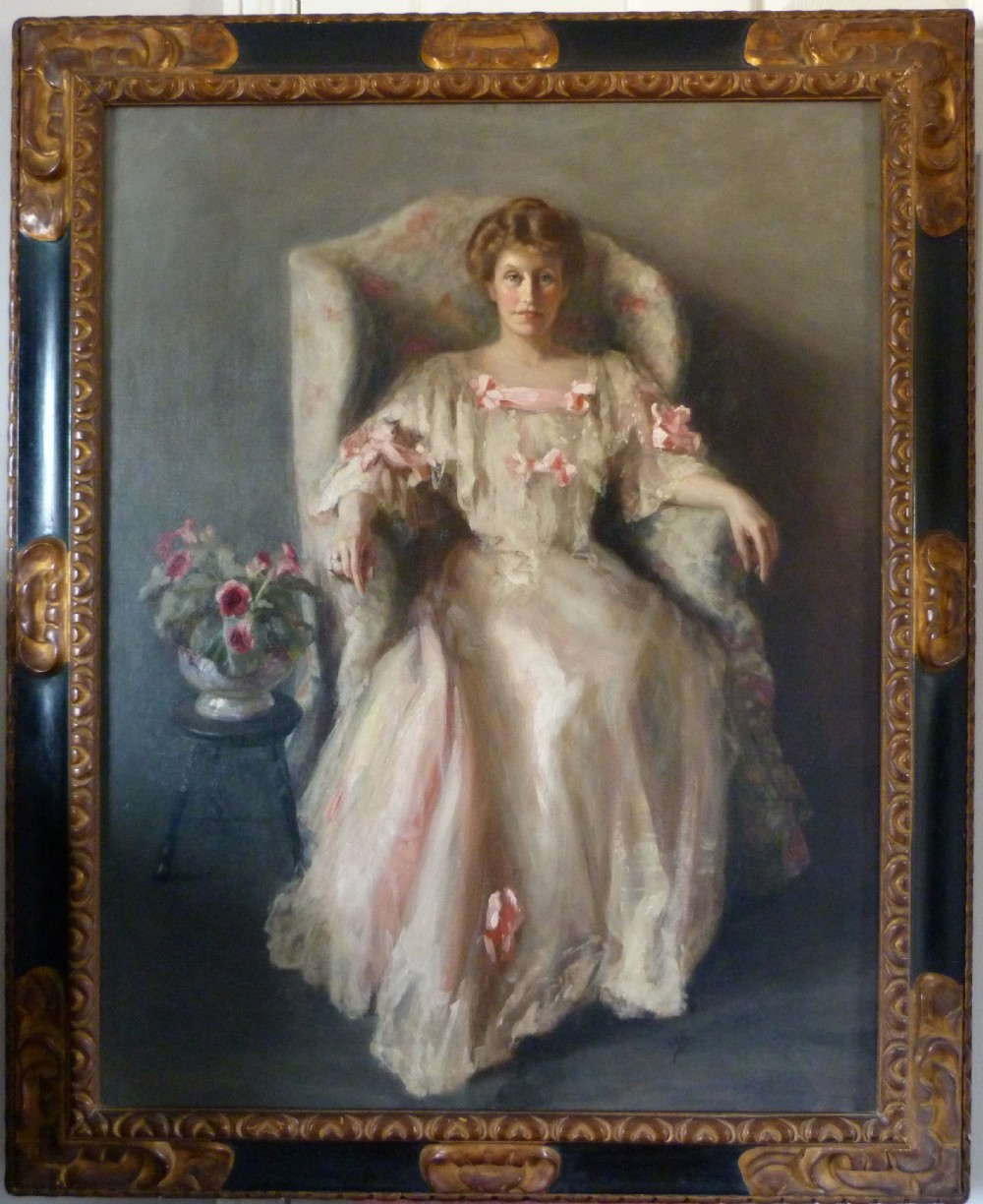 portrait of a lady in white 1906 by margaret kemplay snowden