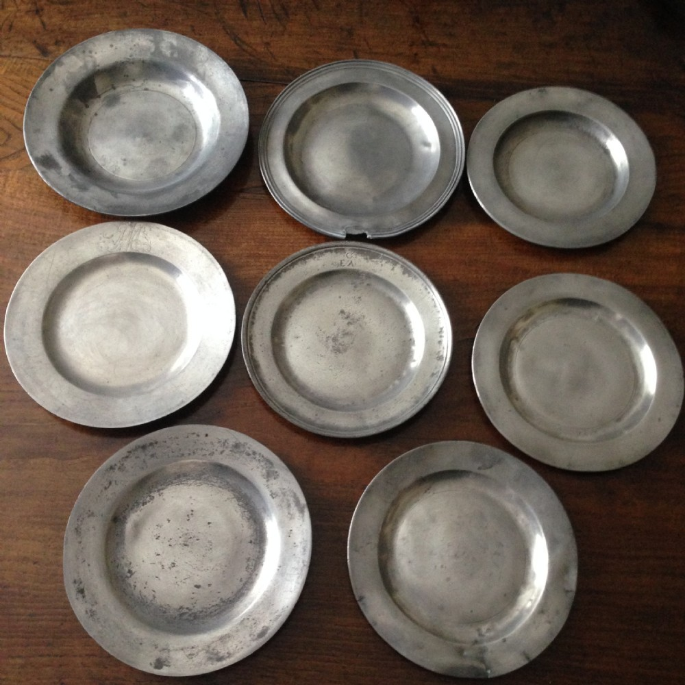 eight pewter plates 1680 1800