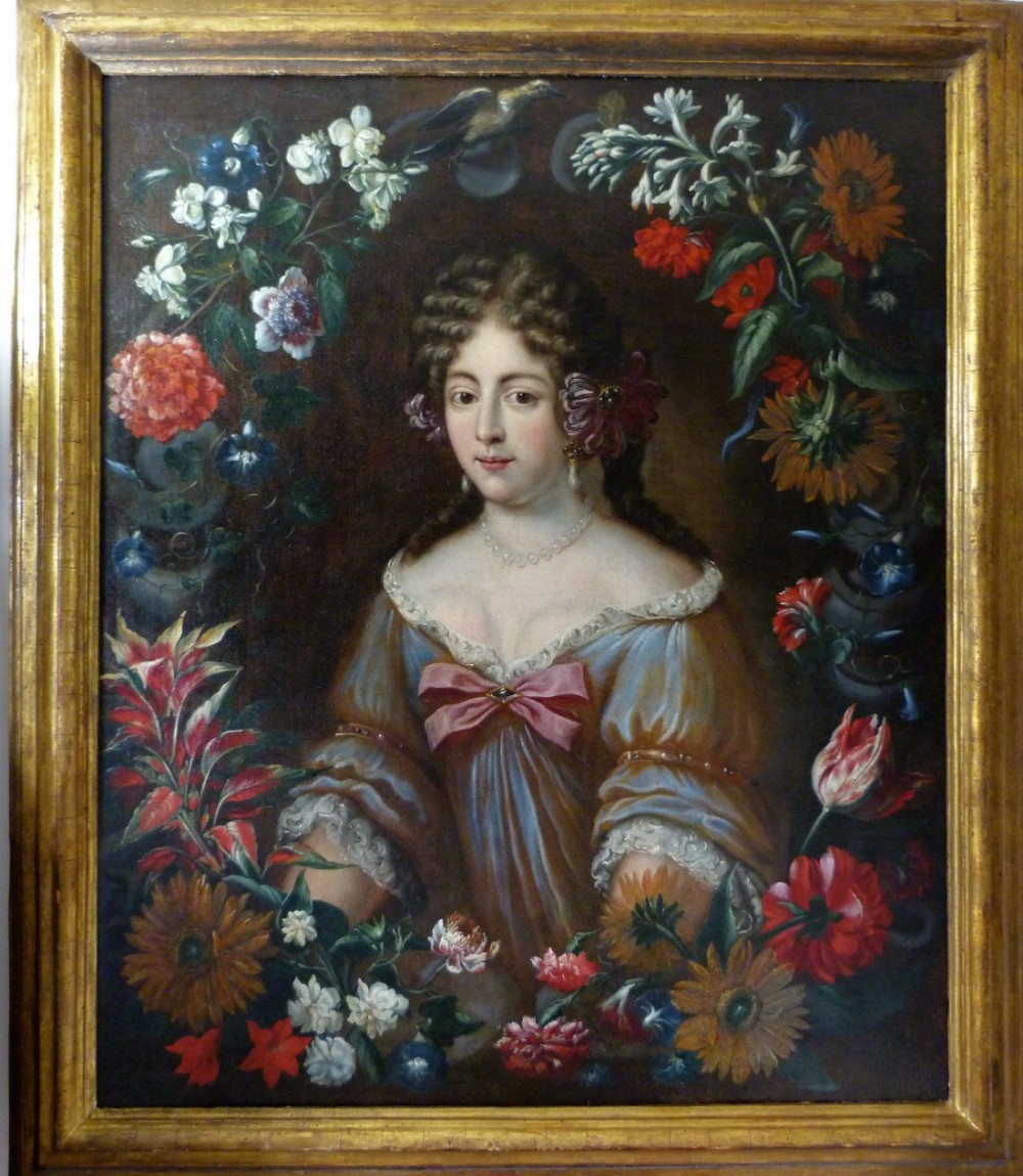 portrait of a lady within a garland of flowers c1670 studio or circle of jakob ferdinand voet