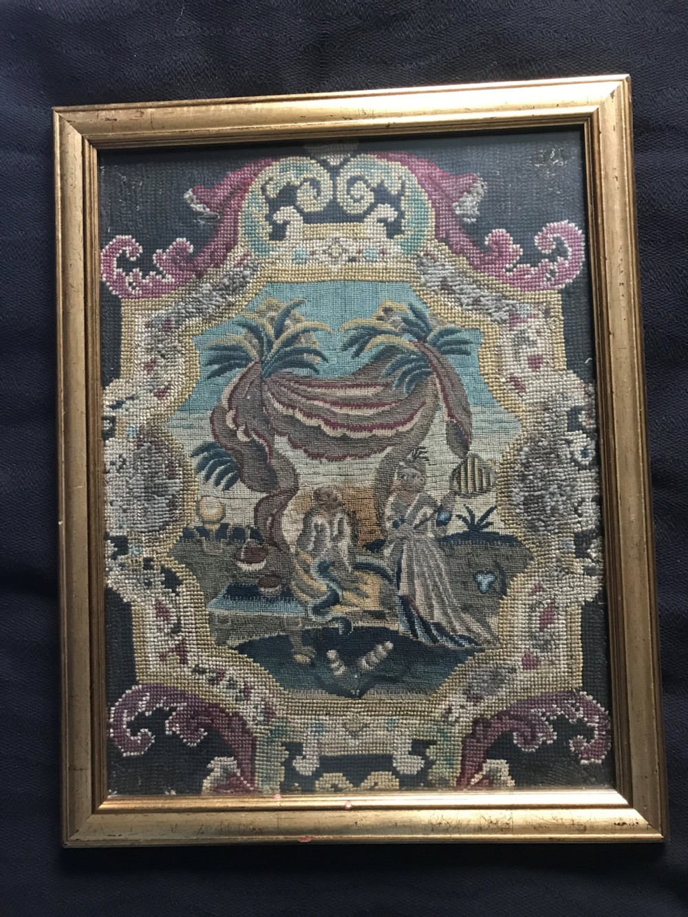 'the monkey king' needlework panel c1720