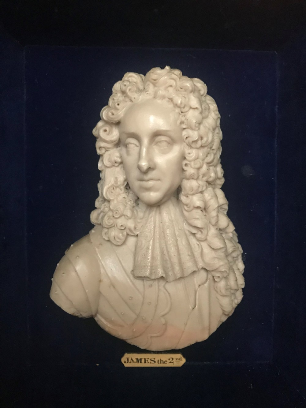 a wax portrait bust of james ii early 18th century in the manner of david le marchand