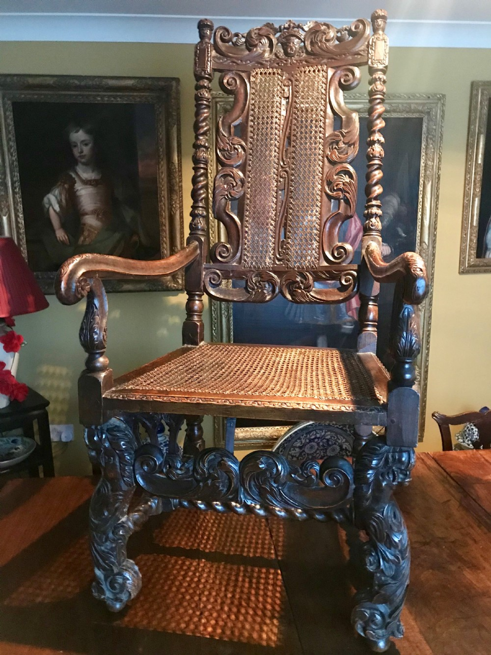 magnificent carved walnut armchairs